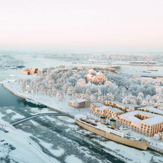Talvinen, ylhäältä kuvattu visiokuva Linnanniemen kilpailutyöstä Kolme palaa.